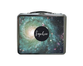 Galaxy Lunch Box, Personalized Lunch Box, METAL Lunch Box, Space Lunch Box, Stars Lunch Box, Lunch Box for Women, TIN Lunch Bag Personalized