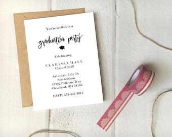 Graduation Party Invitation Printable 5x7 Card / Instant Download / Grad Party Invite Simple DIY