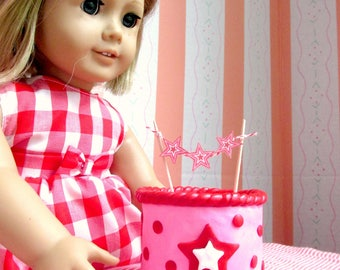 American Girl Cake, Birthday Party Food 18 inch dolls, Miniature Doll Cake, Doll Party Supplies, Party Accessories