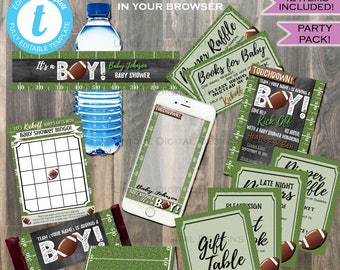 Football Baby Shower Party Pack Baby Sprinkle Baby Boy Invite Football Touchdown Chalkboard Template Custom Printable INSTANT Self EDITABLE