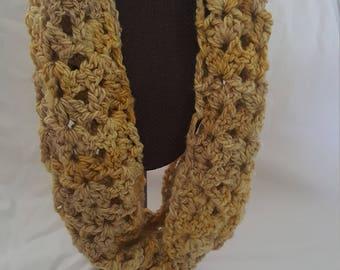 Crocheted wool infinity scarf