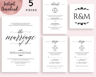 Wedding Invitation Template, 5x7 Wedding Invitation, Printable Wedding Invitation Suite, Editable Invitation, Digital Download, PDF files