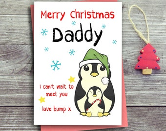 Christmas Card From The Bump, Daddy To Be Card, First Christmas Card, Father To Be, Daddy Christmas Card