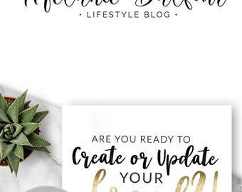 237  - Melanie Balfour, LOGO Premade Logo Design, Branding, Blog Header, Blog Title, Business, Boutique, Custom, Script, Text Only, Blogger