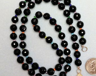 Faceted Black Onyx with Colorful Beads In Between