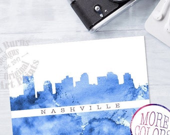 Nashville Art, Nashville Skyline Art, Nashville Watercolor Skyline, Nashville Skyline Print, Nashville Wall Art, Tennessee Art