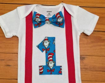 Cat in the Hat Birthday Shirt, Dr. Seuss First Birthday Bodysuit, Cat in the Hat Cake Smash for Boys, Boy Cat in the Hat Outfit