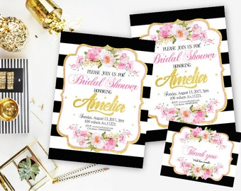 kate spade bridal shower invitation black and white striped invitation black and pink invitations