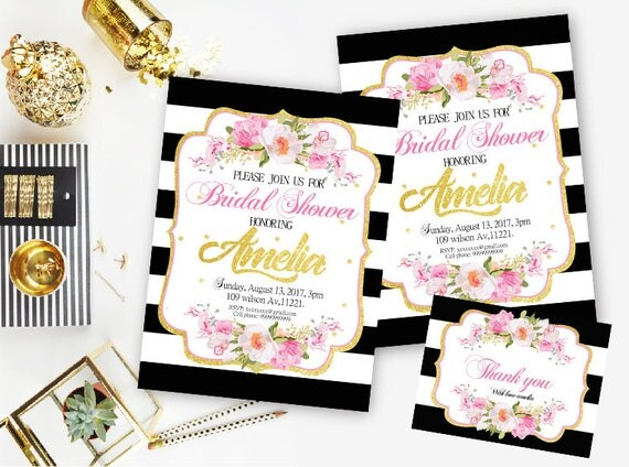 Kate Spade Bridal Shower Invitation, Black And White Striped Invitation,  Black And Pink Invitations, Gold Glitter,