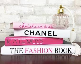 chanel home decor. 4 book pyramid - pink/silver/white/black designer book set, chanel home decor m