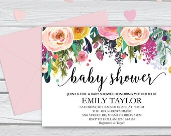 Floral Baby Shower, Floral Baby Shower Invitation, It's a Girl Shower Invite, Bridal Shower Card, Boho Girl Baby Invite, Instant Download 12