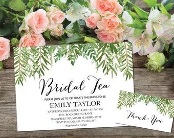 Bridal Tea Invitation, Bridal Tea Party Invitations, Greenery Bridal Tea, Boho Bridal Tea, Bridal Tea Party, INSTANT DOWNLOAD, A-BT3