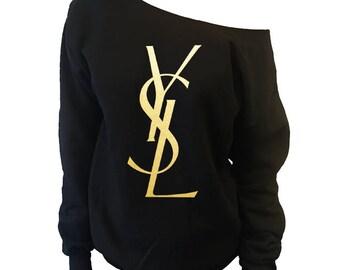 YSL Yves Saint Laurent Inspired Off-Shoulder Over-sized Slouchy Sweatshirt