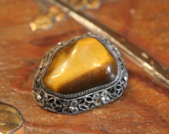 Antique Chinese Export Silver Filigree Tiger Eye Pin Brooch
