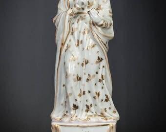 """RARE 13"""" Saint Anne Pregnant Antique Vieux Paris Porcelain Statue St Anna Figure Ann Figurine"""