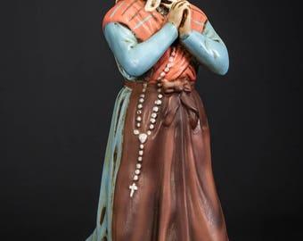 """RARE 11"""" Large Saint Bernadette Soubirous Plaster Statue Vintage St Figure"""