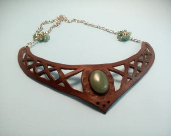 Statement Necklace Bib Necklace Leather Necklace Leather Jewelry Hand Tooled Hand Carved Vegetable-tanned leather Green Stone Gift for her