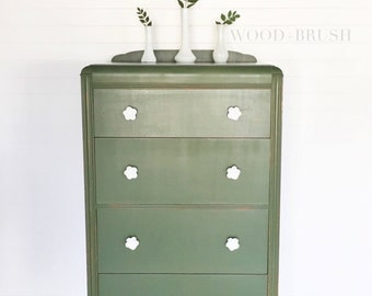 Green Waterfall Chest of Drawers with Papered Drawers // painted furniture // handpainted // vintage // refinished furniture