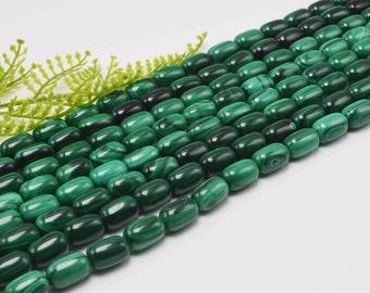 8x12mm Genuine Malachite Gemstone Drum 8x12mm Loose Beads Half or Full Strand, Malachite, Genuine Malachite Beads
