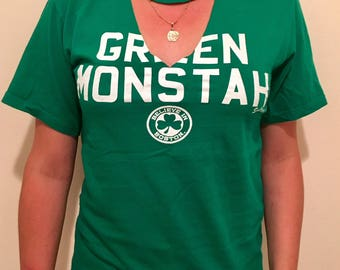 Vintage BOSTON 'Green Monstah' Choker Neck V Neck FENWAY PARK T-Shirt - Soft - Fast Shipping!!!!