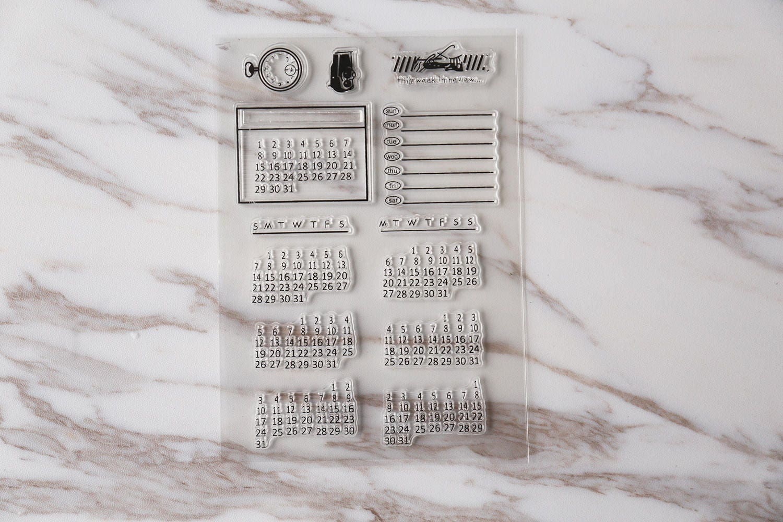 Calendar Sheet Rubber : Calendar clear rubber stamps planner stamp set food
