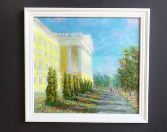 original oil painting framed cityscape hand painted city painting 12.5x13.5 classical russian fine art interior wall home decor summer stree