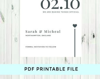 Printable save the date cards - custom save the dates - simple and elegant save the date cards - printable wedding save the date invites