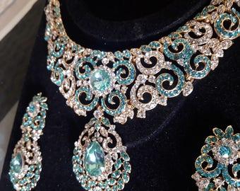 Cz bridal necklace set,wedding necklace, Indian bridal gold necklace, fine evening jewellery, necklace