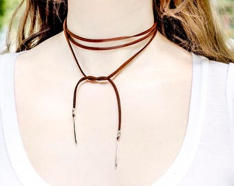 Boho Choker Necklace Brown Leather Lariat Necklace Wrap Choker Necklace Boho Long Lariat Wrap Layered Necklace Brown Suede Lariat Necklaces