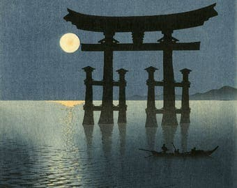 "Japanese Art Print ""Shrine Gate of Miyajima (the Moon and Torii Gate)"" by Koho Shoda, woodblock print reproduction, world heritage site"