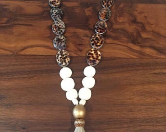 Cowrie shell and bone necklace
