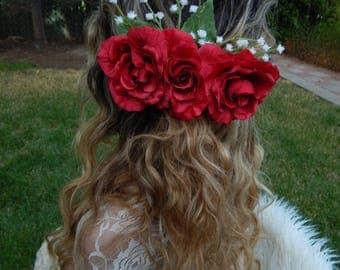 Red Rose Bridal Hair Clip,Rose Bridal Hair Piece,Rose Hair Piece,Rose Wedding Hair Clip,Flower Hair Clip,Flower Bridal Hair Piece, Bridal