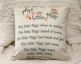 This little Piggy - Nursery rhyme inspired pillow baby room children poem cushion cover 45 by 45 cm home gift