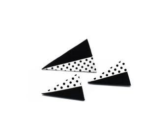 Polka dot jewelry set, Black triangle earrings, Contemporary jewelry, Dotted earrings, Cute gift gor her, Birthday gift, Fashion ring