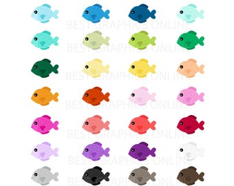 80% OFF SALE Commercia use clipart Colorful fish clipart Fishing Clipart, Digital fish clip art, Rainbow digital fish, Digital fishes KG1