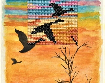 Handmade greeting card, hand-painted with watercolours and hand-embroidered with 100% cotton threads, Dreamy Scenery, Geese Migration scene