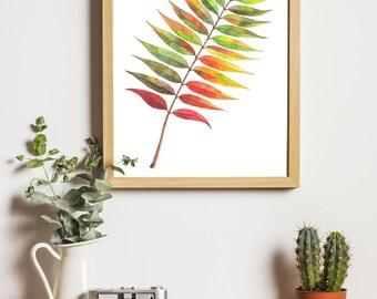 Autumn Printable art, Rowan Watercolor Painting, Rowan leaf art, Botanical Print, Leaves Watercolor, Fine Art, Living room art, Autumn Art