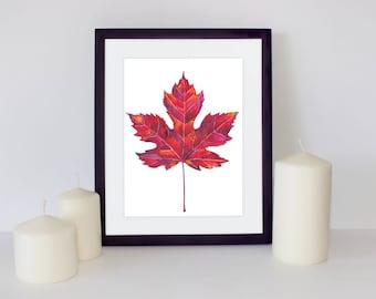 Autumn Printable, Maple leaf Watercolor Painting, Maple leaf art, Botanical Print, Leaves Watercolor, Fine Art, Living room art, Autumn Art
