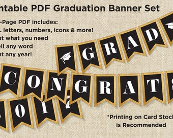 Graduation Party Decorations Banner - Gold and Black - ALL letters, numbers & icons - Printable Instant Download