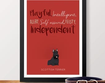 Scottish Terrier Personality Trait poster - Scottie lover gift, Scottie poster, Scottish Terrier print, Scotty dog poster