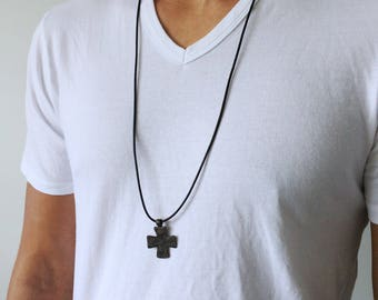 Leather Cross Pendant necklace Mens Cross necklace mens cross pendant for men religious necklace religious gift Mens rustic Necklace Cross