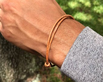 Leather cord bracelets Thin Leather bracelet Mens Bracelet Cuff Bracelet Adjustable bracelet leather jewelry for men gift for him mens gift