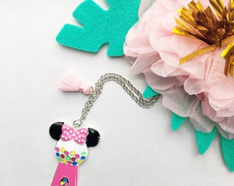 Minnie Mouse Necklace, Disney Necklace, Disney Jewelry, Minnie Gumball, Gumball Machine, Tassel Necklace