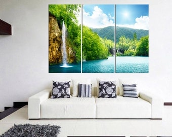 waterfall wall art canvas print, large canvas art, nature wall art, large wall decor large canvas print Qn9