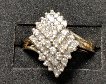 Diamond Cluster in 14k Gold Ring
