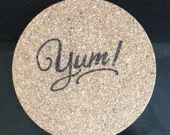 Cork coaster; cork trivet; 'Yum!' corkboard heat-proof mat