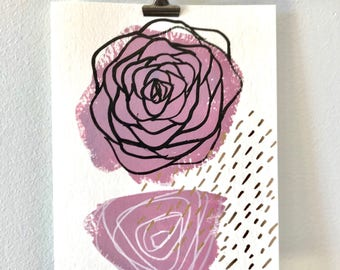 Greeting card / illustration painting pink