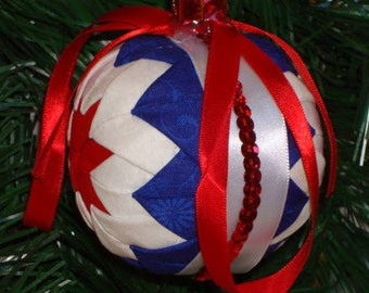 Quilted Ornament / Patriotic Ornament / Red White and Blue Ornament