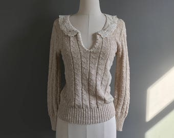 Vintage 1970's pointelle knit sweater with crochet lace collar