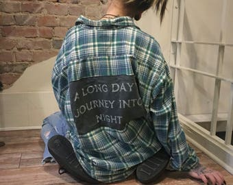 A LONG DAY Flannel  //  T-Shirt Flannel  //  Handmade  // Hand sewn  // Eugene O'Neill  //  Long Day's Journey Into Night
